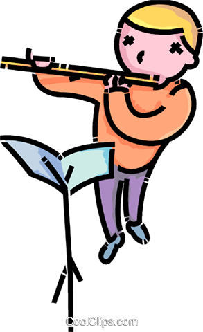 293x480 Boy Playing The Flute Royalty Free Vector Clip Art Illustration