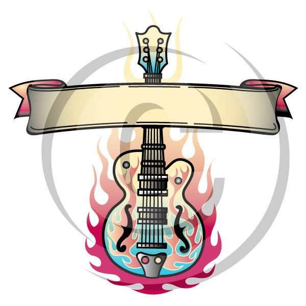 600x600 Tattoo Clip Art Clipart Guitar Flames Rock And Roll