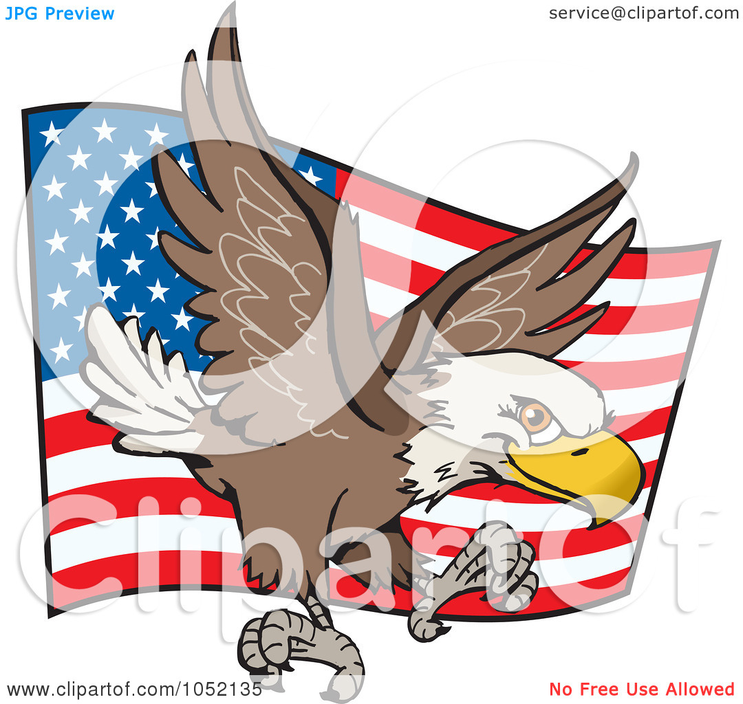 1080x1024 Eagle In Front Of American Flag Clipart