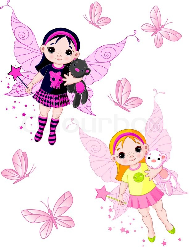612x800 Two Cute Fairies Blond And Brunette, Flying With Butterflies