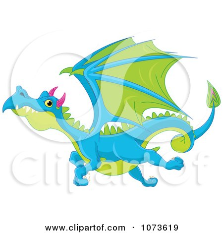 450x470 Clipart Blue And Green Flying Dragon