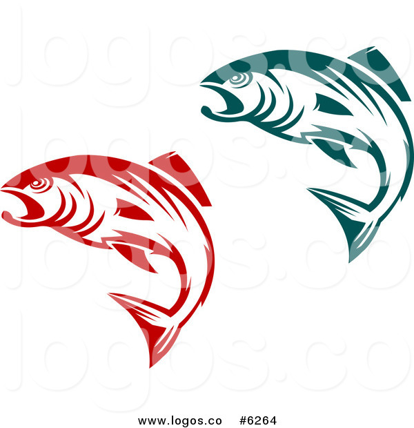 600x620 Royalty Free Clip Art Vector Logos Of Teal And Red Jumping Fish By