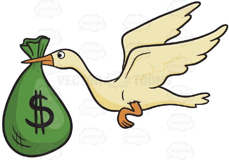 800x560 White Bird Stork Flying, Delivers Green Bag With Dollar Bill Sign