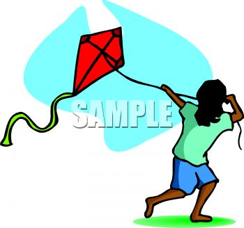 350x328 Clip Art Illustration Of An Ethic Child Flying A Red Kite