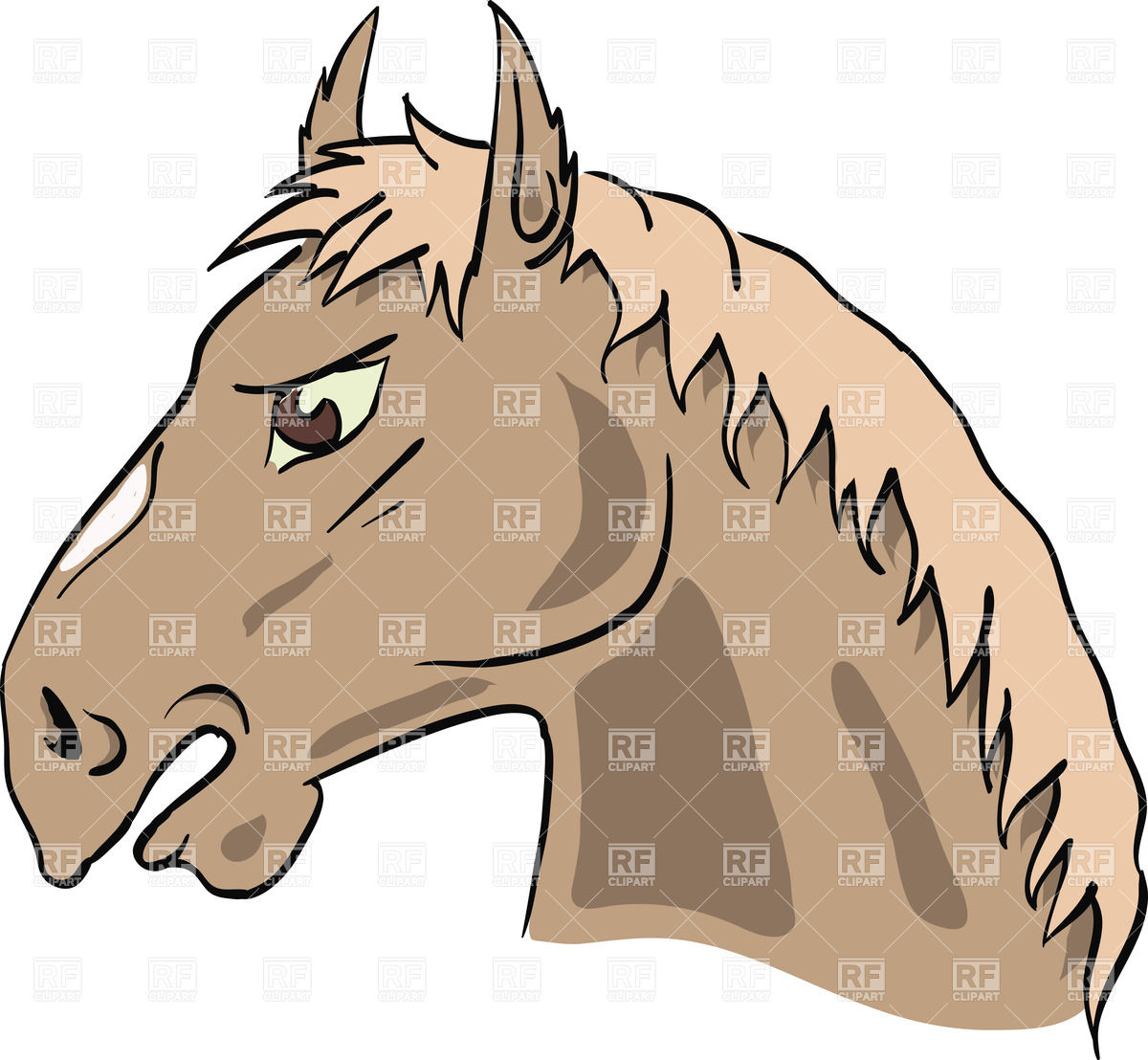 1200x1108 Cartoon Horse's Head Royalty Free Vector Clip Art Image