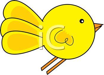 350x253 Cartoon Illustration Of A Yellow Bird Flying