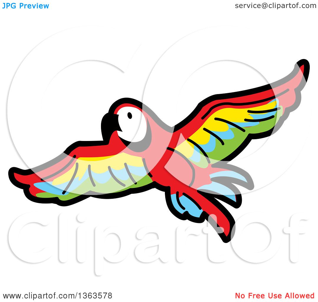 1080x1024 Clipart Of A Cartoon Flying Scarlet Macaw Parrot In Flight