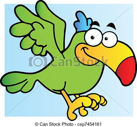 450x420 Green Parrot Flying. Parrot Cartoon Character Flying Vector Clip