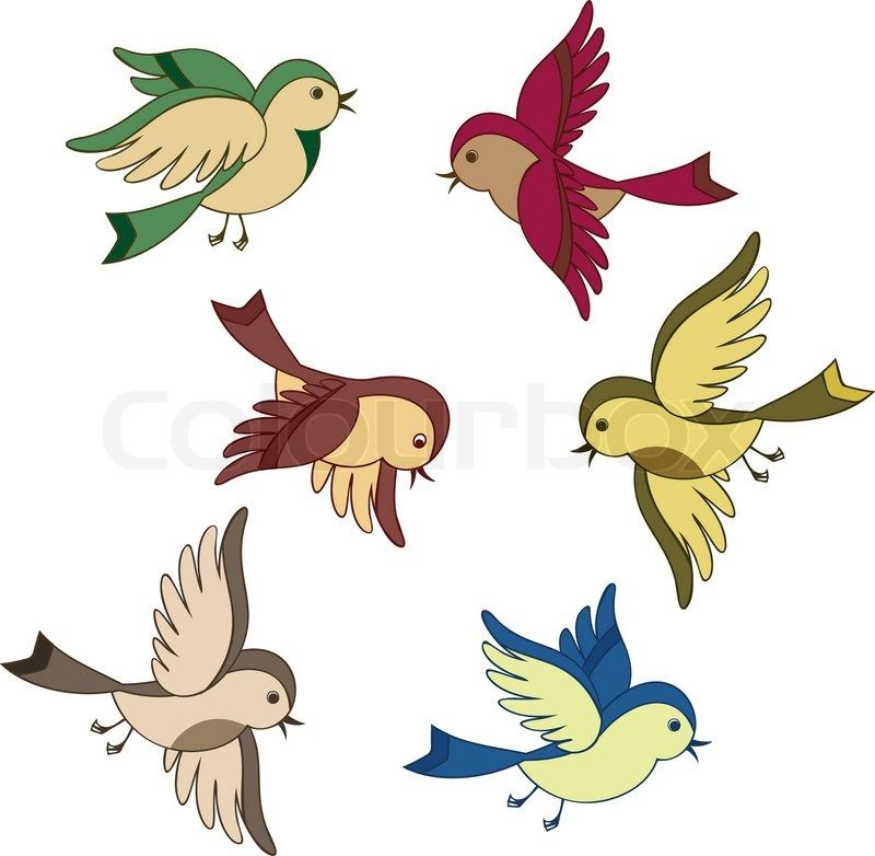 800x782 Stock Vector Of Set Flying Bird Cartoon Clipart Christmas
