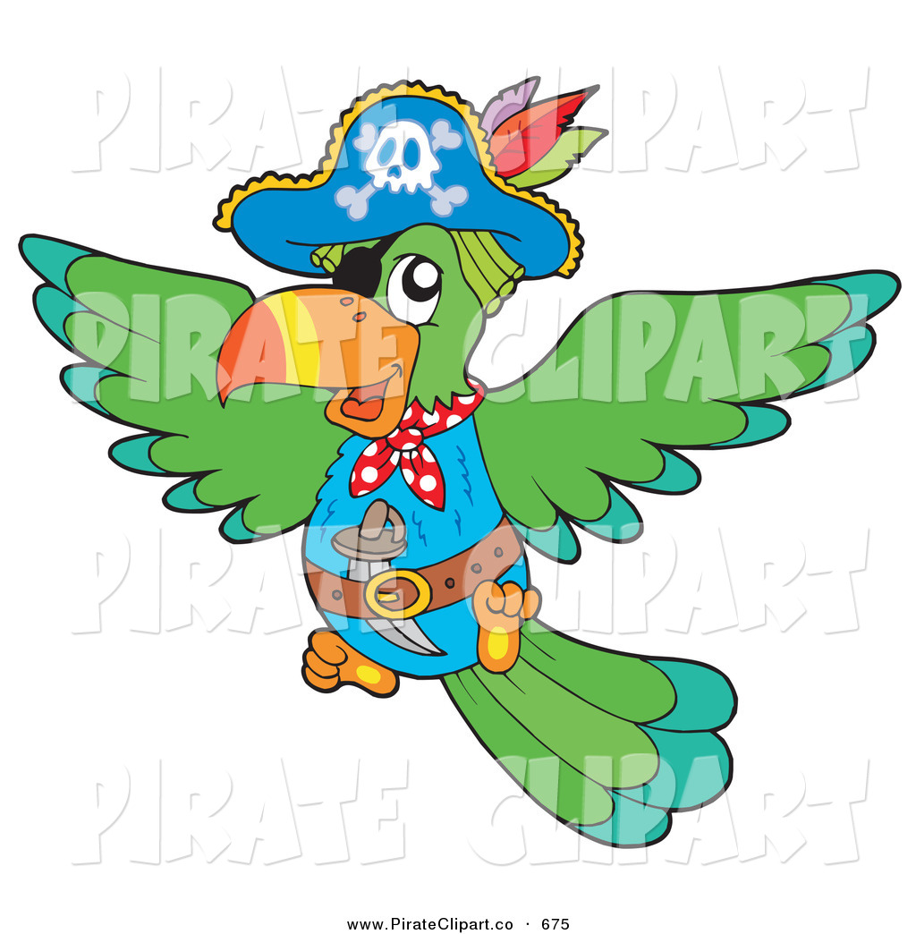 1024x1044 Vector Clip Art Of A Colorful Flying Pirate Parrot With Eye Patch