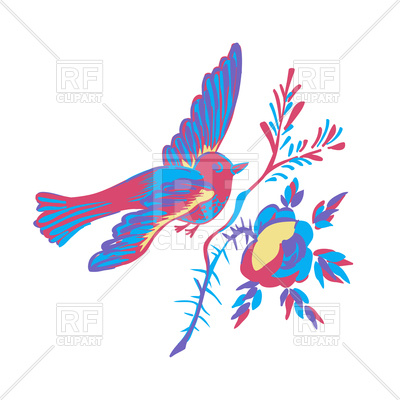 400x400 Bird Flying With Branch Royalty Free Vector Clip Art Image
