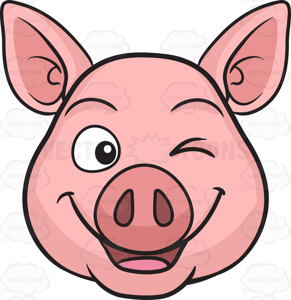995x1024 Pretty Pig Clipart A Winking Cartoon Vector Toons Black And White
