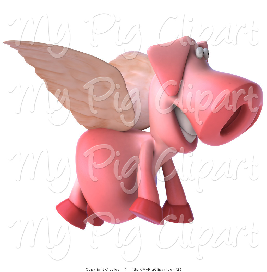 1024x1044 Swine Clipart Of A 3d Flying Pig By Julos