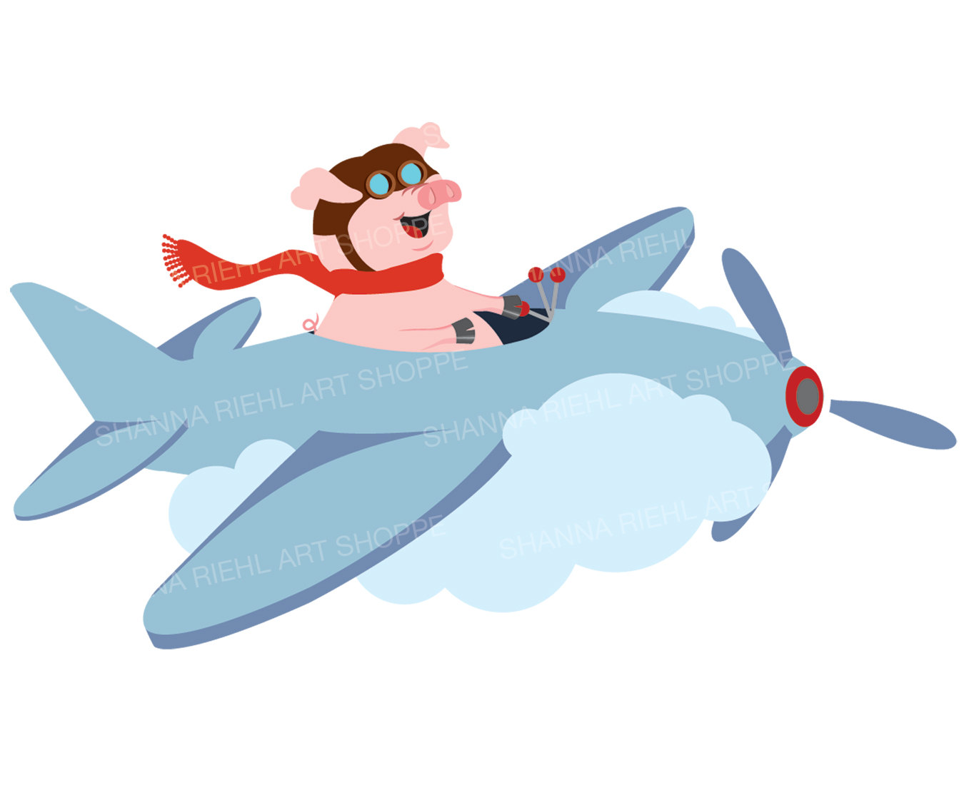 1350x1100 When Pigs Fly Pig Clipart Cute Pig Airplane Art Commercial