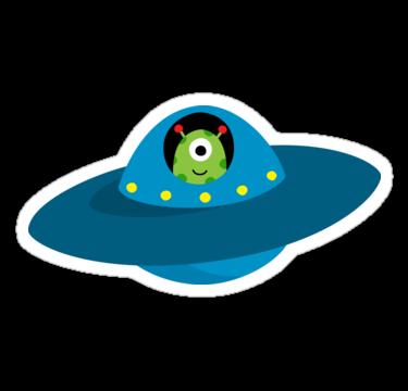 375x360 Cute Alien In Flying Saucer Type Spaceship Sticker' Sticker By