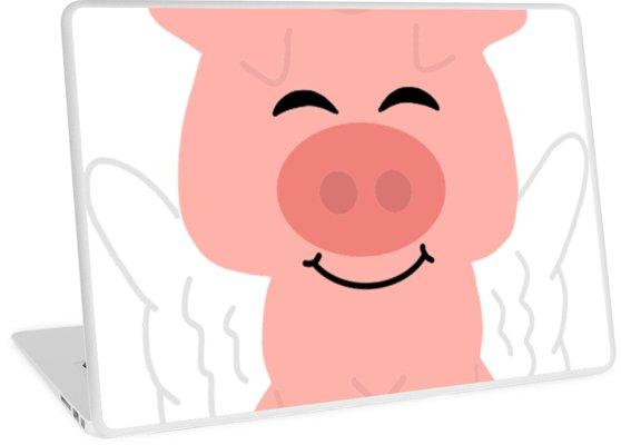 558x400 Funky Flying Unicorn Pig Cartoon Laptop Skins By Southerndesigns