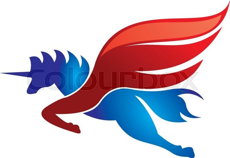 800x552 Unicorn Horse Flying Red Logo Stock Vector Colourbox