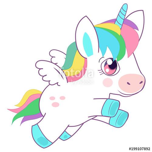 500x500 Cute Little Magic Unicorn Vector Illustration. Fairy Tale