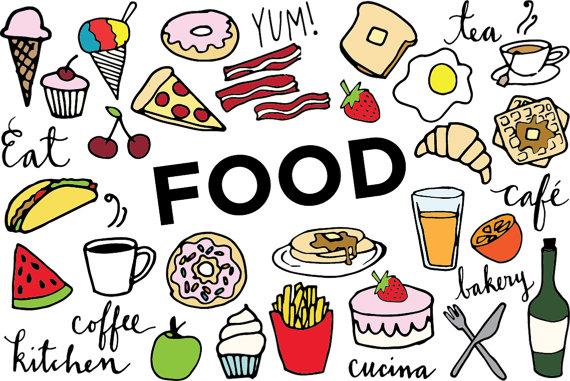 570x381 Food Clip Art Hand Drawn Clip Art Food Collage Sheet