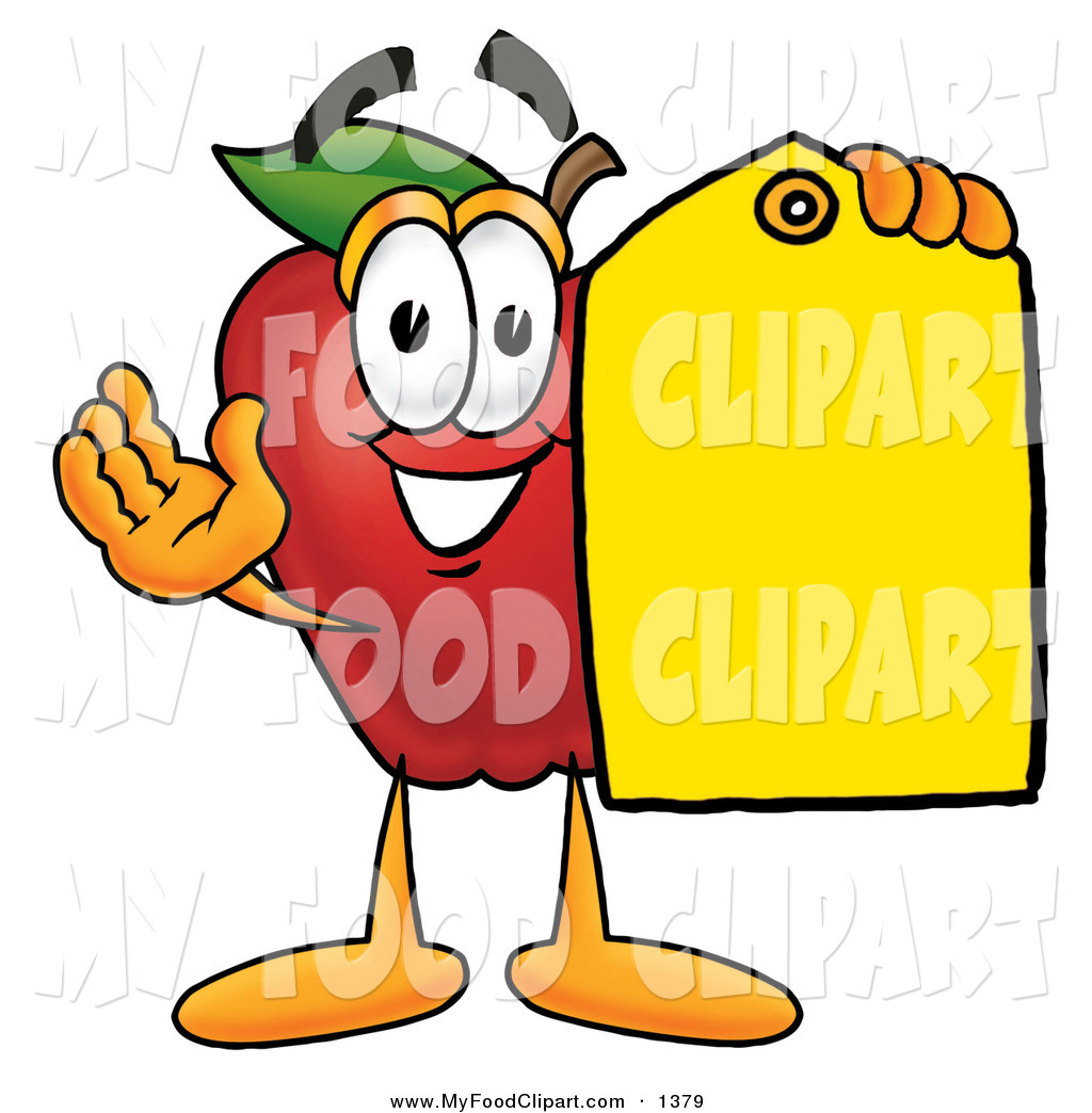 1024x1044 Food Clip Art of a Cute Red Apple Character Mascot Holding a Blank
