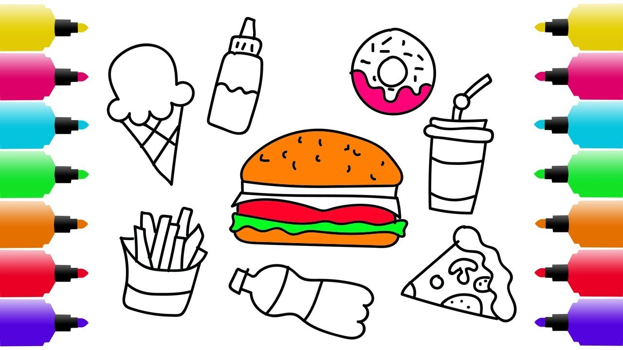 1280x720 Fein Junk Food Coloring Pages Fotos