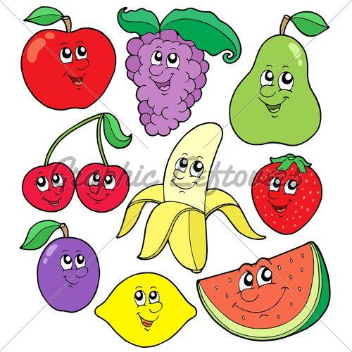 500x500 Cartoon fruits collection 1 Drawing Pinterest Cartoon, Clip