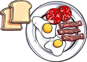300x216 A Plate Of Breakfast Food With Toast Clipart Picture