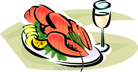 480x249 Lobster On A Plate Royalty Free Vector Clip Art Illustration