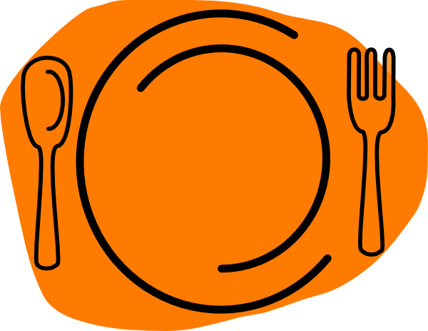 600x463 Orange Plate Clip Art