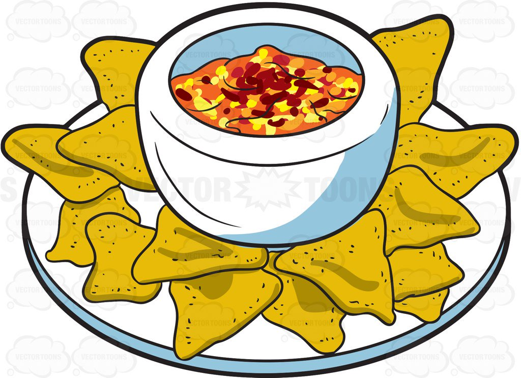 1024x743 A Plate Of Nachos Cartoon Clipart Vector Toons
