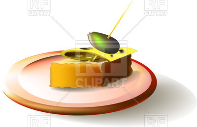400x259 Sandwich With Cheese And Olives On Plate Royalty Free Vector Clip