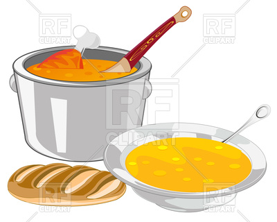 400x320 The Saucepan And Plate Of Soup On Table Royalty Free Vector Clip