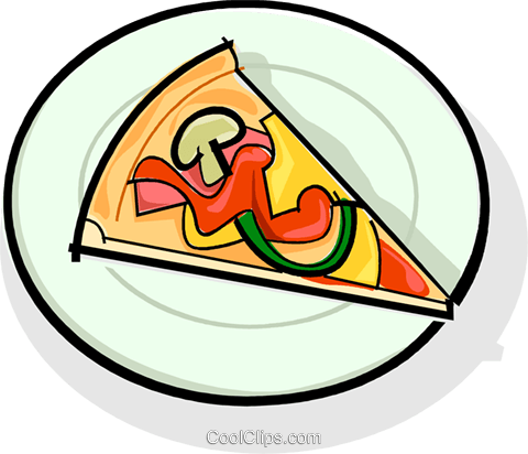480x412 Slice Of Pizza On A Plate Royalty Free Vector Clip Art