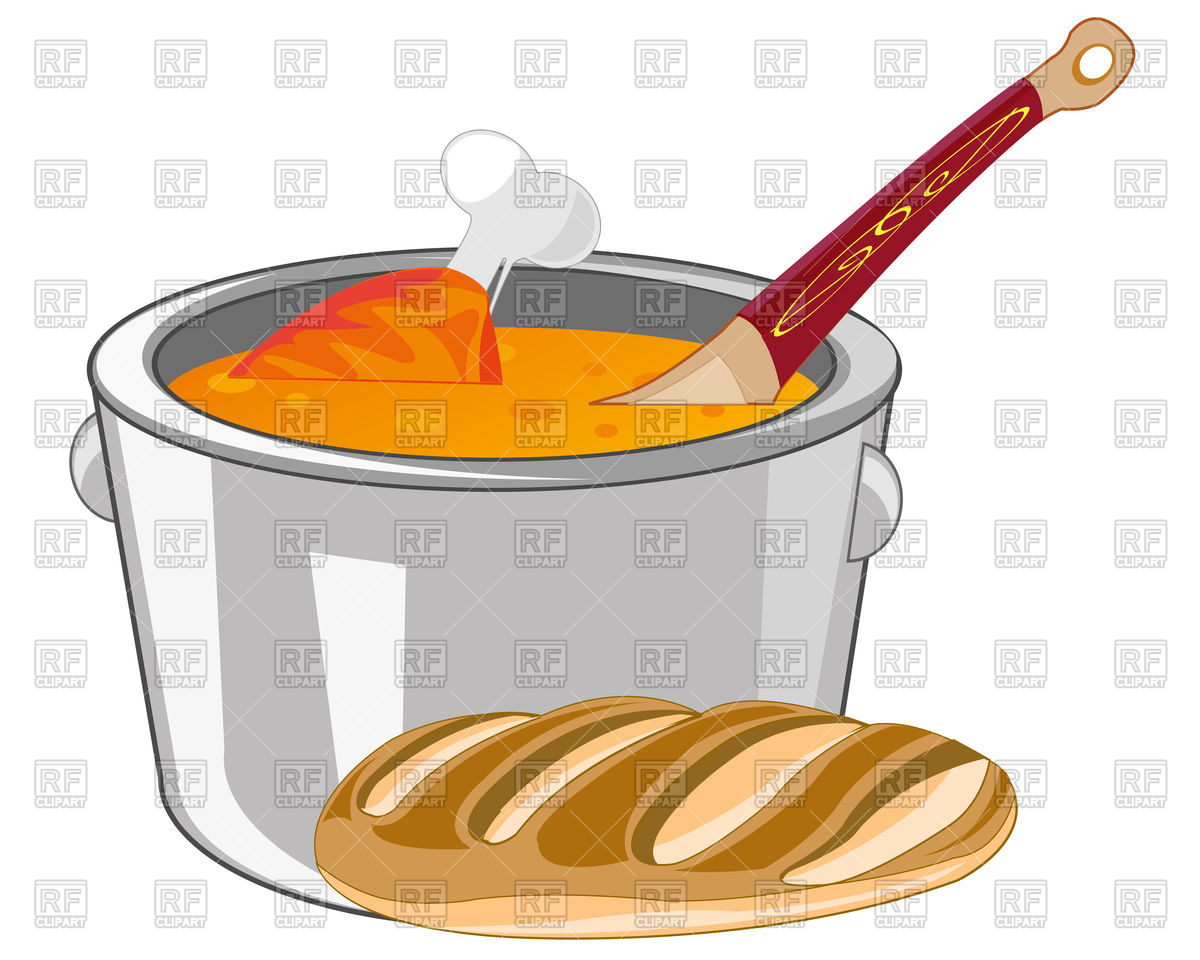 1200x960 Soup With Meat In Saucepan And Bread Royalty Free Vector Clip Art