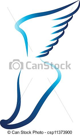 280x470 Flying Foot. Modern Swoosh Foot With Wing Vector Clipart