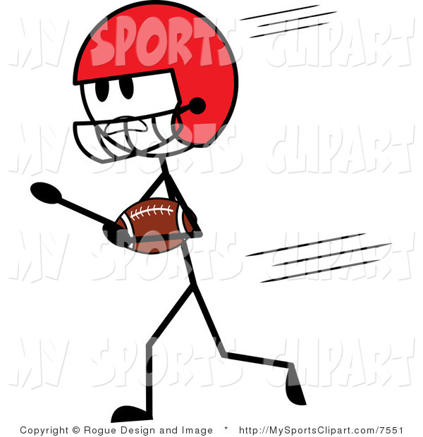 600x620 Sports Clip Art Of A Stick Man American Football Player By Pams