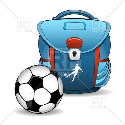 400x400 Bleu School Bag And Soccer (Football) Ball Royalty Free Vector