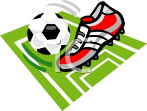 300x226 A Red And Gray Cleat Kicking A Soccer Ball Clip Art Image