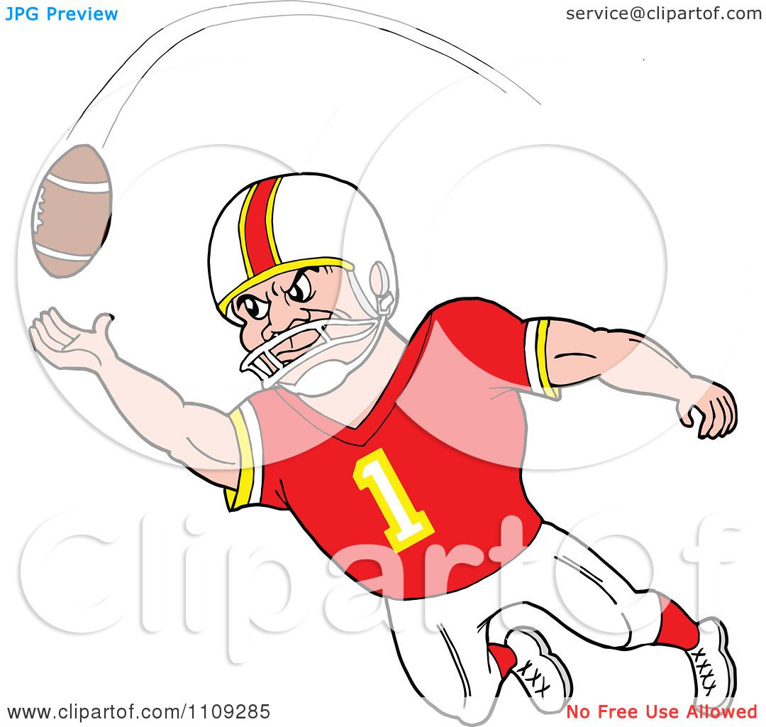1080x1024 Clipart Caucasian American Football Player Receiver In A Red