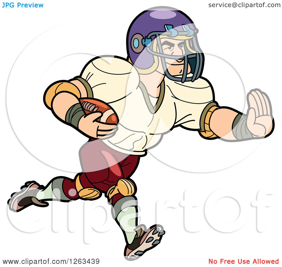 1080x1024 Clipart Of A Muscular White Male American Football Player Running