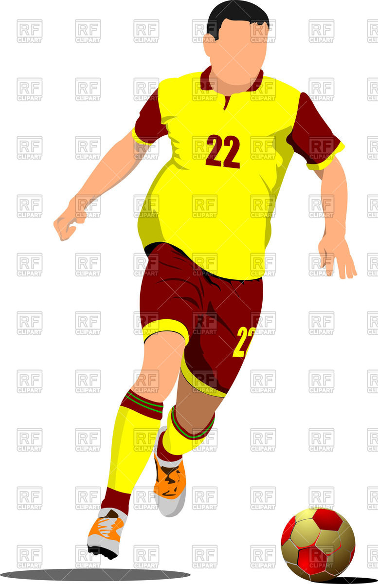 777x1200 Yellow Red Silhouette Of Soccer Player With Football Ball Vector