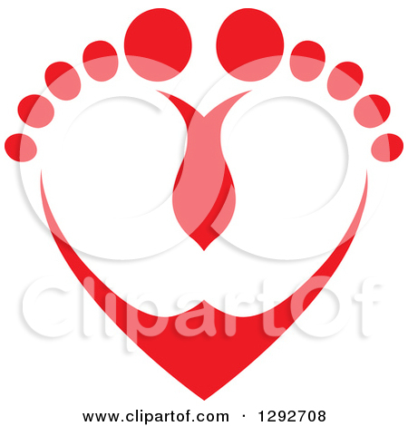 450x470 Footprint With Heart Clipart