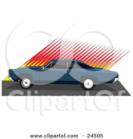 450x470 Clipart Illustration Of A Convertible Ford Thunderbird Car As Seen