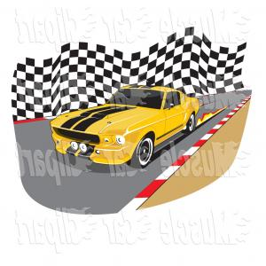 300x300 Vector Automotive Clipart Of A Yellow Racing Ford Mustang Gt