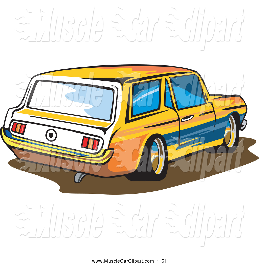 1024x1044 Automotive Clipart Of A Yellow Ford Mustang Station Wagon Car By