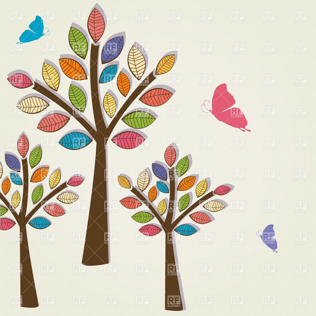 1200x1200 Three Trees With Colorful Foliage And Three Butterflies Royalty