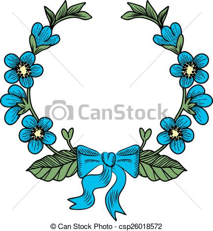 434x470 Wreath With Flowers. Beautiful Wreath With Forget Me Not
