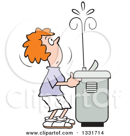 450x470 Clipart Of A Cartoon Red Haired Caucasian Woman Playing