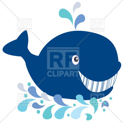 400x400 Cute Cartoon Smiling Whale With Fountain Royalty Free Vector Clip