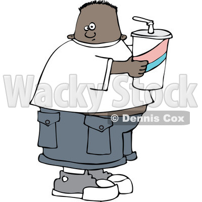 400x400 Clipart Chubby Black Boy Holding A Fountain Soda